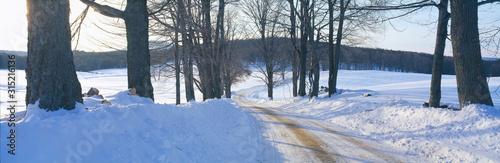 Fototapeta Snowy Road at Sunset, Near Woodstock, Vermont