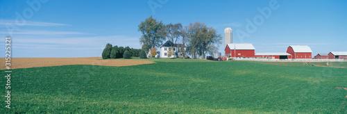 Valokuvatapetti Rolling Farm Fields, Great River Road, Balltown, N.E. Iowa