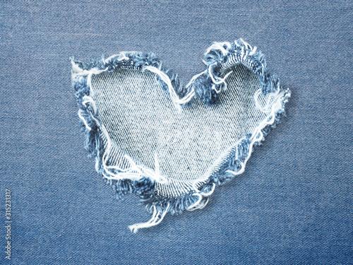 Photo Heart shape ripped jean denim texture