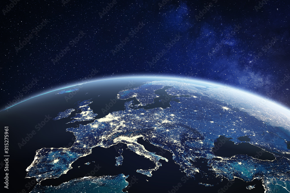 Europe viewed from space at night with city lights in European Union member states, global EU business and finance, satellite communication technology, 3D render of planet Earth, world map from NASA <span>plik: #315275961   autor: NicoElNino</span>