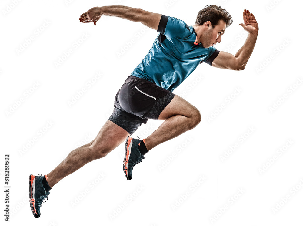 one caucasian runner running jogger jogger young man in studio isolated on white background <span>plik: #315289502   autor: snaptitude</span>