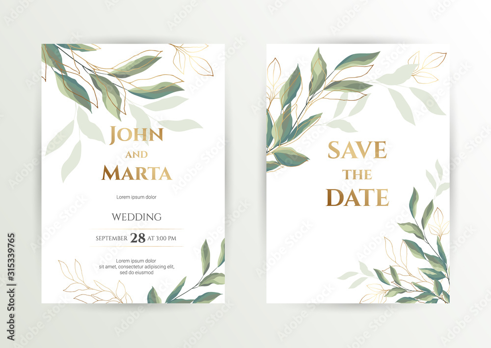 Wedding invite. Set of card with leaves and geometrical frame. Design with forest green leaves, eucalyptus, fern & golden geometric frame. Floral Trendy templates for banner, flyer, poster, greeting. <span>plik: #315339765 | autor: Anfi_5933</span>