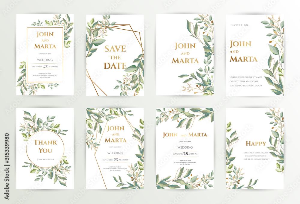 Zaproszenie na ślub. Zestaw kart z liśćmi i geometryczną ramą. Projekt z zielonymi liśćmi lasu, eukaliptusa, paproci i złotą geometryczną ramą. Kwiatowe modne szablony banner, ulotki, plakat, pozdrowienia. <span>plik: #315339980 | autor: Anfi_5933</span>