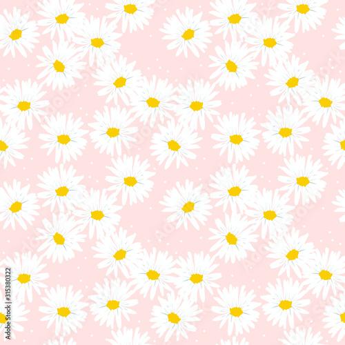 Obraz na płótnie Sweet daisy seamless pattern
