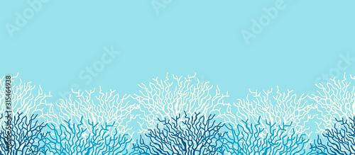 Cuadros en Lienzo Underwater sea life ocean banner background with blue coral reef.