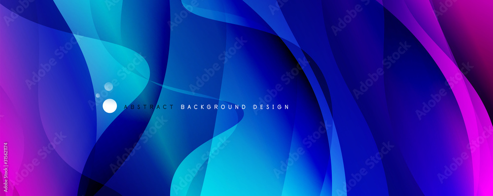 Trendy simple fluid color gradient abstract background with dynamic wave line effect. Vector Illustration For Wallpaper, Banner, Background, Card, Book Illustration, landing page <span>plik: #315621174   autor: antishock</span>