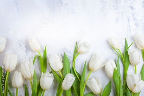 Beautiful white tulips flowers for holiday. #315631323