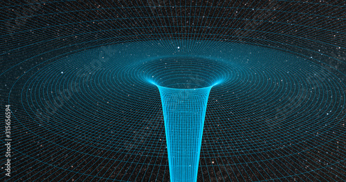 Ripple in space-time continuum displaying gravitational sock waves with galaxy 3 Fototapet