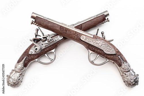 Canvastavla Firearms dating to the american revolution and antique collectables concept with