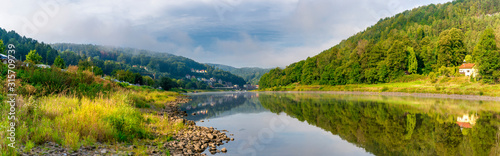 Germany, Saxony, Koenigstein, Scenic panorama of Elbe valley