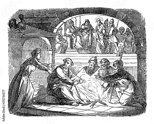 Fotografia, Obraz Vintage drawing or engraving of biblical story of Jesus before Annas and high priest and Peter denies Jesus