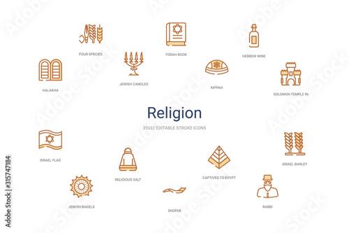 Obraz na plátně religion concept 14 colorful outline icons