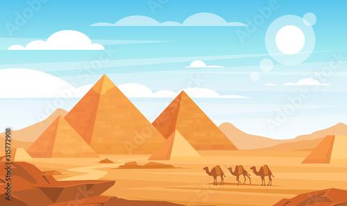 Fotografie, Obraz Pyramids in desert flat vector illustration