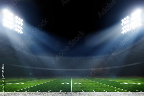 Canvas Print American football stadium with bright lights, sports background