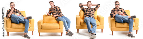 Stampa su Tela Handsome man watching movie while sitting in armchair on white background