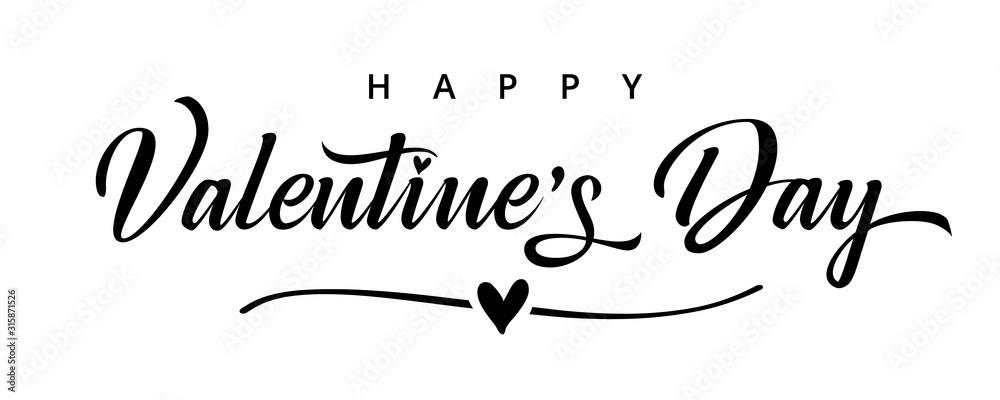 Walentynki tekst elegancki czarny pędzel tekst transparent. Walentynki kartka z pozdrowieniami szablon z kaligrafii walentynki szczęśliwym dniem i serce w linii na białym tle. Ilustracji wektorowych <span>plik: #315871526 | autor: koltukov</span>