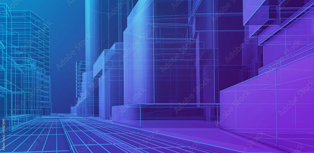 Futuristic architecture rendering. Blue wireframe city <span>plik: #315876190   autor: CROCOTHERY</span>