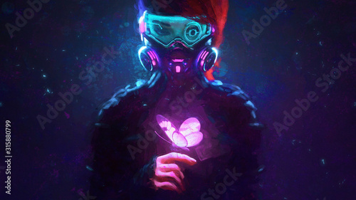 Canvas Print Digital illustration of cyberpunk girl in futuristic gas mask with protective gl