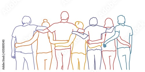 Photo Tourism, travel, people, leisure and teenage concept - group of happy friends hugging
