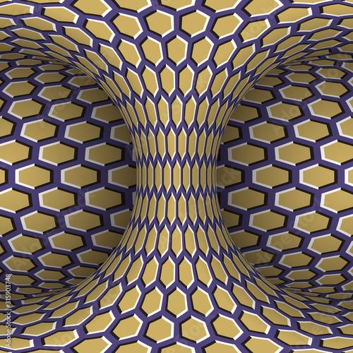 Moving torus of purple beige hexagonal pattern. Vector hypnotic optical illus...