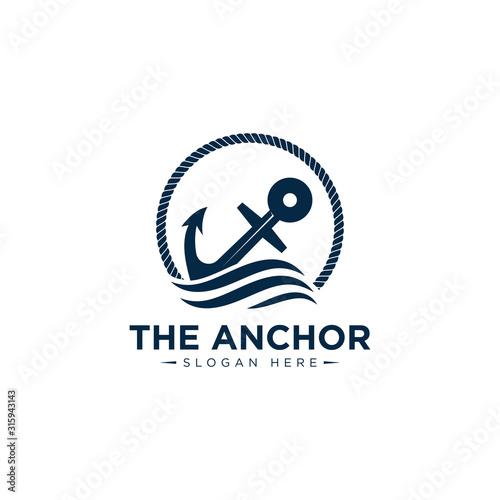 Murais de parede marine retro emblems logo with anchor and rope, anchor logo - vector