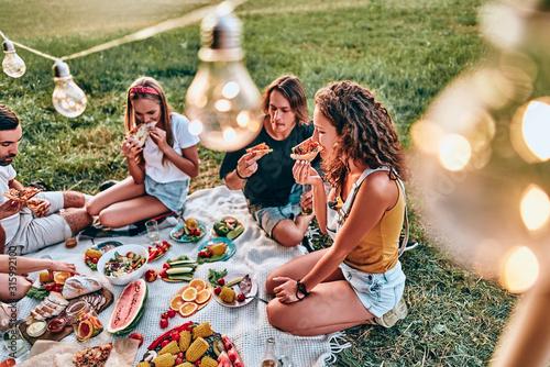 Carta da parati Happy young friends group enjoying picnic party