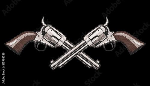 Obraz na plátně Hand drawn revolvers vector illustration