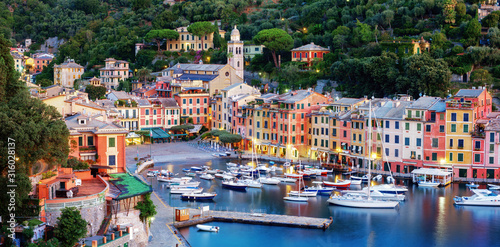 Wallpaper Mural Panorama of Portofino town, Liguria, Italy