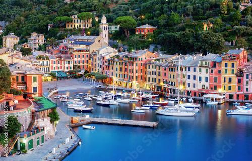 Fototapeta Portofino town center and harbor, Genoa, Italy