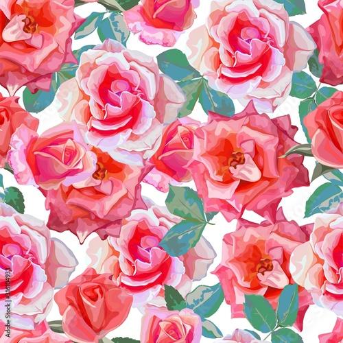 Fototapeta Roses seamless pattern  vector illustration