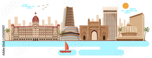 Valokuva mumbai famous monuments and skyline vector
