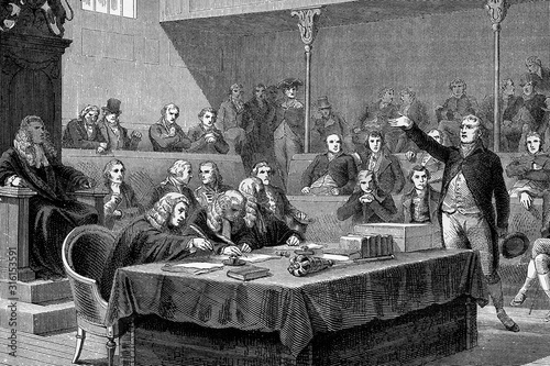 Wallpaper Mural Discussion in the Parliament of England on the invasion of Switzerland, Speech of Charles James Fox, English politician