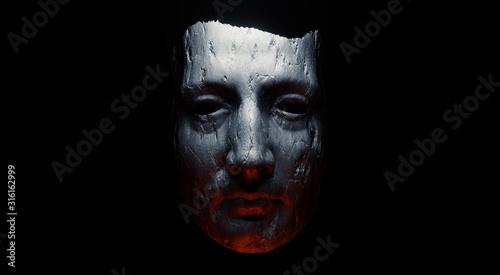 Valokuva Concept of mistic mask or face. 3d illustration