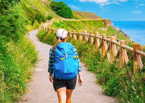 Fotomural Lonely Pilgrim with backpack walking the Camino de Santiago in Spain, Way of St