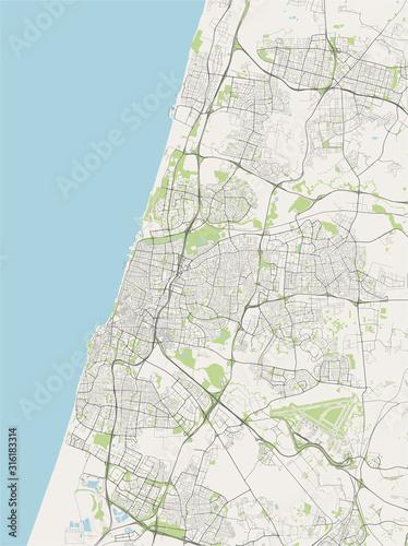 Fotografie, Obraz map of the city of Tel Aviv, Yafo,Jaffa, Israel