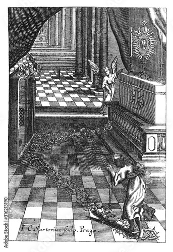 Obraz na płótnie Antique vintage religious engraving or drawing of praying woman sinner walking on thorns to concession and pray at altar in church