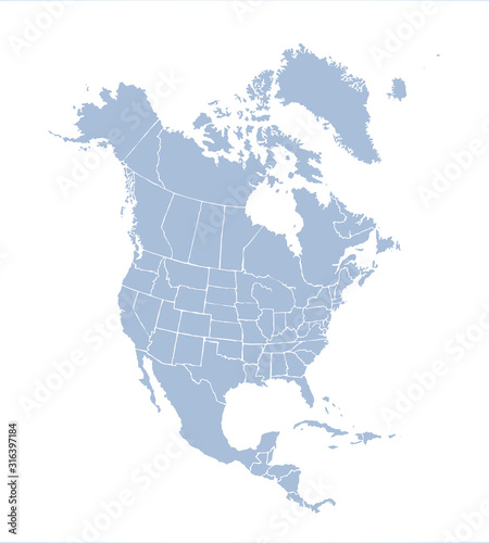Obraz na plátně North American continent with contours of countries