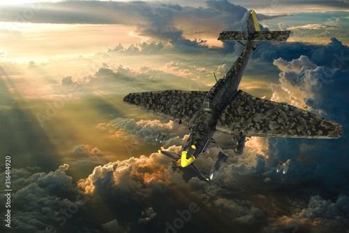 3D rendering of a world war two german dive bomber diving. Fototapeta