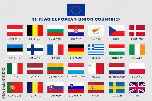 Obraz na płótnie Set of European Union Countries Flag