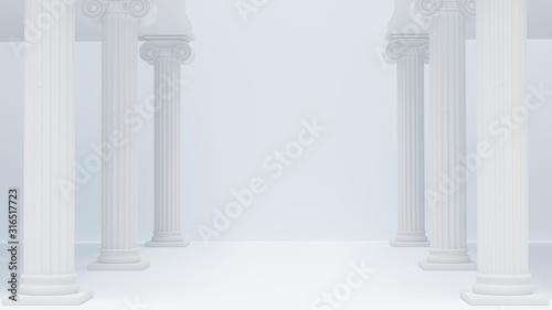 Canvas Colonnade ancient Greek columns white antique background