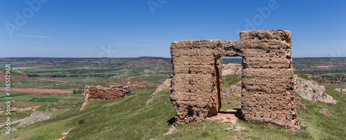 Panorama of the ruins of the historic castle of Alcaraz, Spain