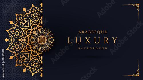 Photographie Luxury mandala background with golden arabesque pattern arabic islamic east style