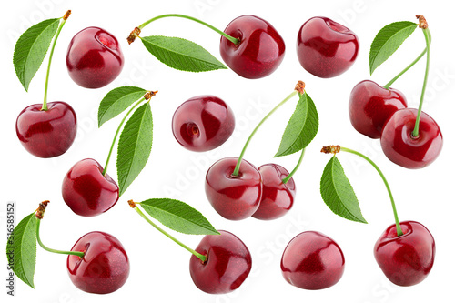 Valokuva cherry isolated on white background, full depth of field, clipping path