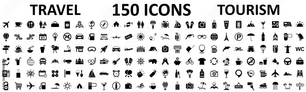 Podróż i turystyka ustawiają 150 ikon, znaki powołania dla aplikacji rozwoju sieci, strony internetowe, infografiki, elementy projektu - wektor <span>plik: #316611388 | autor: dlyastokiv</span>