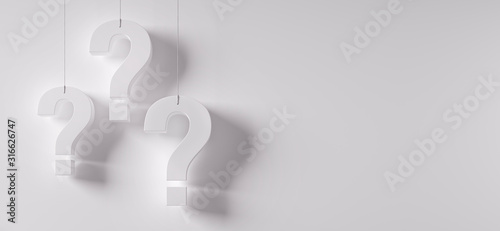 Stampa su Tela Three question marks in front of a white wall