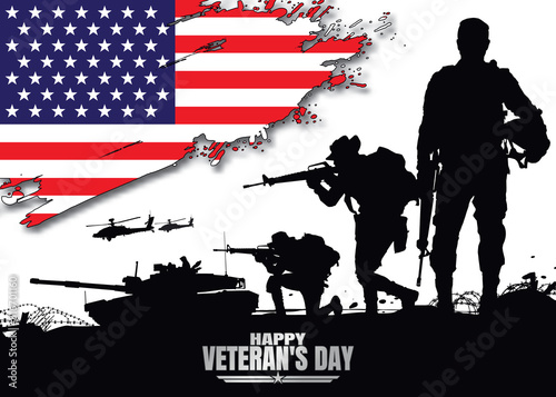 Obraz na plátně Happy veteran's day, Military vector illustration, Army background, soldiers silhouettes