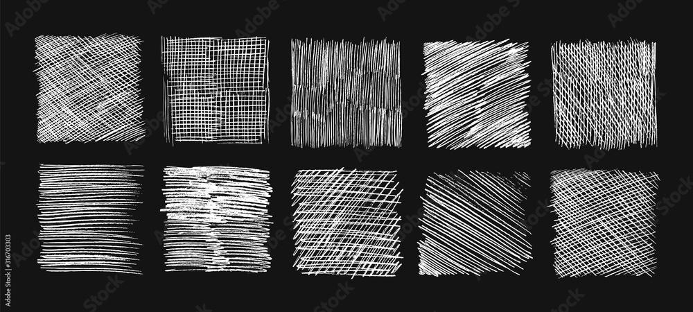 Kreskowanie szkicu kredą. Doodle tekstury, linie do szkicowania ołówkiem. Bazgroły i podstaw, ręcznie rysowane tła wektor zestaw grunge. Wylęgowych zarysowania, ilustracja prostokąt prostokąta, efekt graffiti <span>plik: #316703303   autor: MicroOne</span>