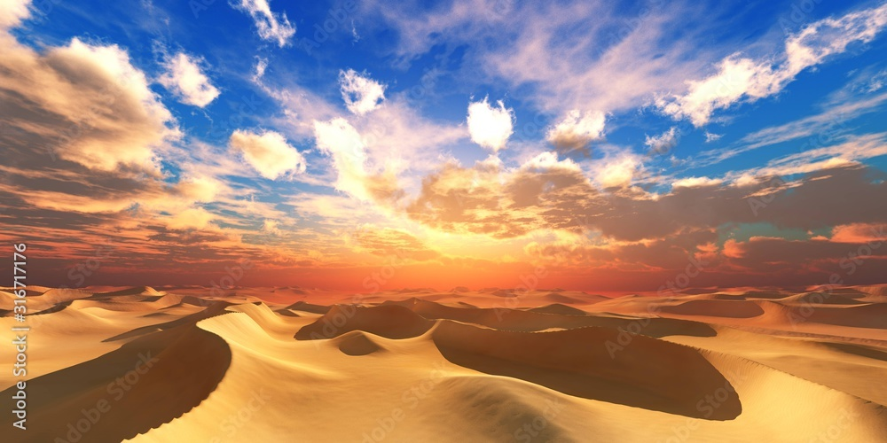 Sand desert at sunset, desert sunset, sand under the setting sun, sun and clouds over the desert, 3D rendering