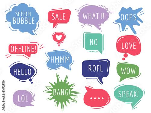 Communication tags. Cartoon speech bubbles with humor phrase text sound handdrawn vector balloons. Illustration bubble communication clouds, comic cartoon sticker
