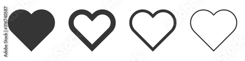 Fotografie, Tablou Heart vector icons. Set of love symbols isolated.